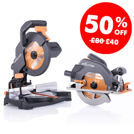 50% off the Evolution R185CCS when you purchase the R210CMS mitre saw.