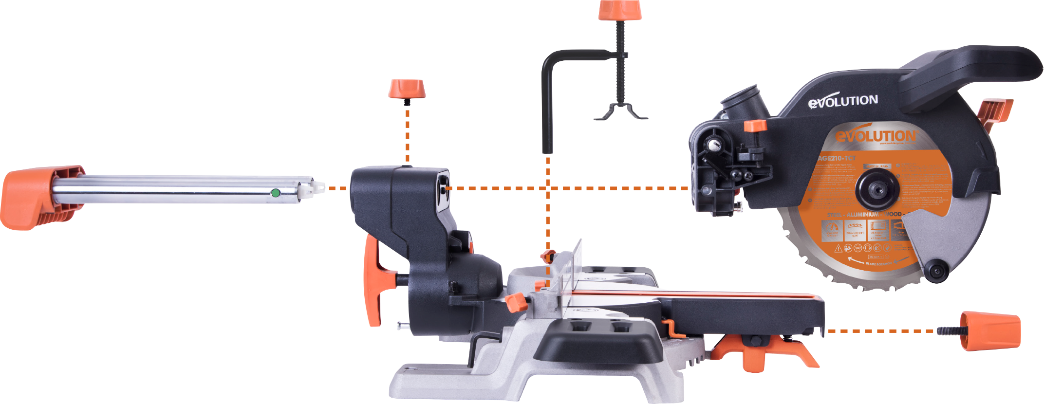 Evolution R210sms Multi Purpose 210mm Sliding Mitre Saw
