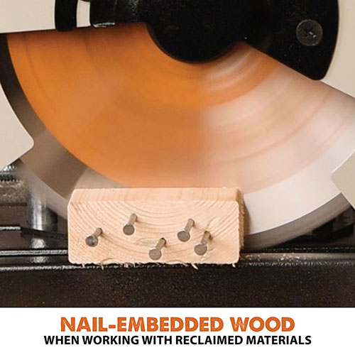 Cuts nail embedded wood