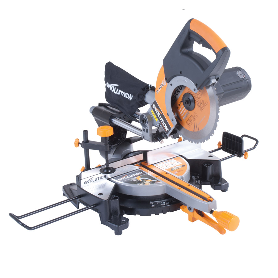 The evolution rage3 multipurpose 255mm sliding mitre saw greentooth Image collections