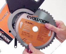 Evolution power tool videos changing the blade on an evolution play mitre saw blade installation pre 2015 models play greentooth Choice Image